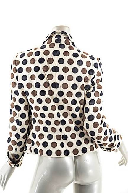 Akris Polka Dots Cotton Beige w/Brown & White Blazer