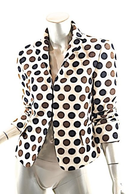 Akris Polka Dots Cotton Beige w/Brown & White Blazer Image 4