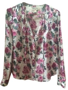 Elizabeth and James Silk Printed Pintucks Top Ivory