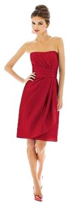 Alfred Sung Cocktail Length Strapless Red New With Tags Dress