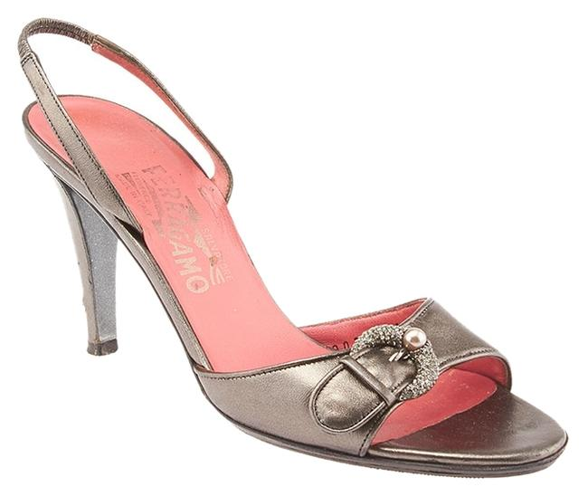Item - Grey Metallic Dark Leather Slingback Heels 6.5b (45750) Sandals Size US 6.5 Regular (M, B)