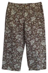 Sigrid Olsen Capris Brown with Off-White Floral Print