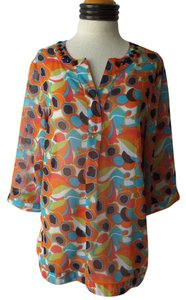 Evan Picone Tunic Top Multi Color Geometric Print