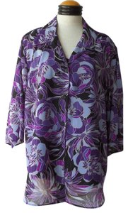 C.B. Collections Nwt Top Black with Purple Floral Print