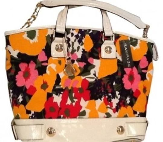 Preload https://img-static.tradesy.com/item/35876/rampage-double-handle-bright-floral-reds-orange-canvas-with-cream-faux-leather-tote-0-0-540-540.jpg