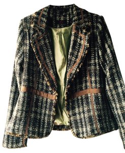 Other Boucle Tweed Fringe Longsleeve Multi-colored blues & browns Jacket
