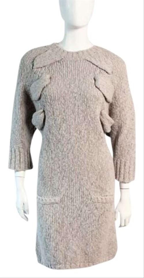 See By Chloe Short Dress Dove Grey Sweater Tan Cut Out Wool Angora Cashmere Designer