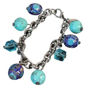 Queen Bee Vintage Queen Bee Signature Blue Turquoise and Sterling Silver Charm Bracelet