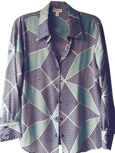 Dress Barn Art Deco Artsy Top Green-Blue-Black-Ivory