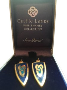 Celtic lands Ireland Colbolt Blue Aqua Enameled Earrings Fish Hook Gold Filled