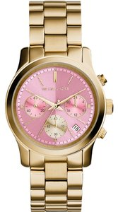 Michael Kors Michael Kors Runway Pink Dial Gold-tone Stainless Steel Ladies Watch 38mm MK6161