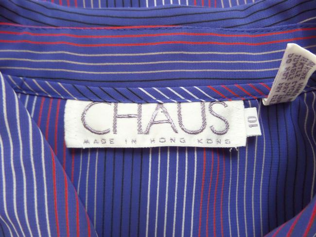 Chaus Top Blue Red and White Striped