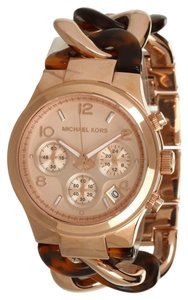 Michael Kors Michael Kors Women's Chronograph Runway Twist Tortoise Acetate and Rose Gold-Tone Stainless Steel Bracelet Watch 38mm MK4269