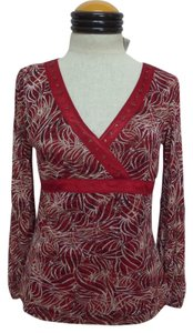 Emma James Top Dark Red with Beige, White & Black Geometric Print