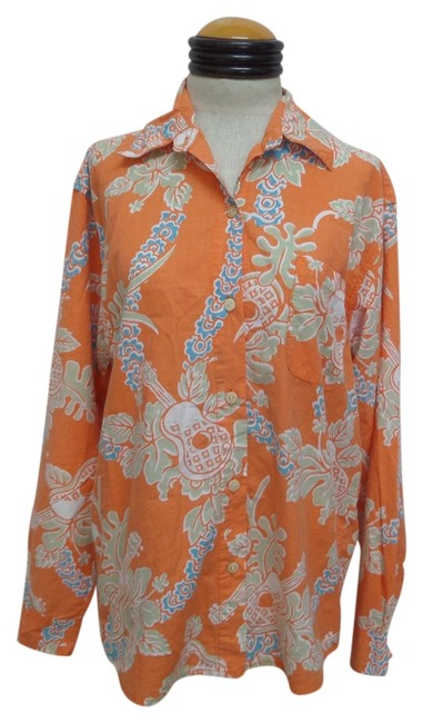 Totem by the Sea Button Down Shirt Orange with Tropical Floral Print