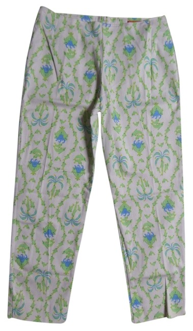 Govango Trouser Pants White with Green and Blue Dolphin Print