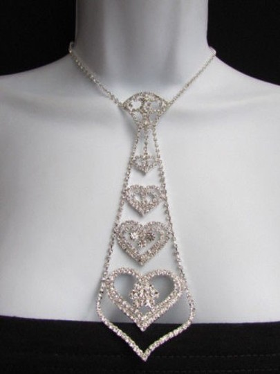 Other Women Necklace Silver Metal Fashion Neck Tie Rhinestones Multi Hearts Earrings