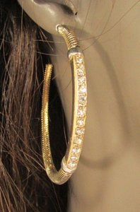 Women Gold Black Metal Hoops Fashion Earrings Set Silver Rhinestones Hook
