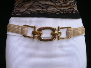 Other Women Belt Fashion Elastic Hip Waist Beige Thin Gold Metal Buckle 27-35