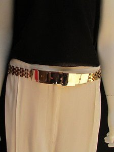 Other Women Belt High Waist Hip Gold Metal Plate Links Elastic Black 26-36