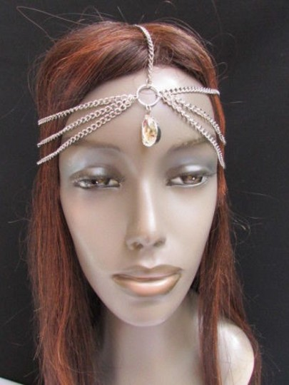 Other Women Head Chain Fashion Silver Metal Jewelry Big Bead Front Forehead Drop