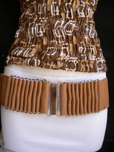 Other Women Belt Hip High Wiast Elastic Beige Cream Moroccan Silver Buckel S-m-l-xl