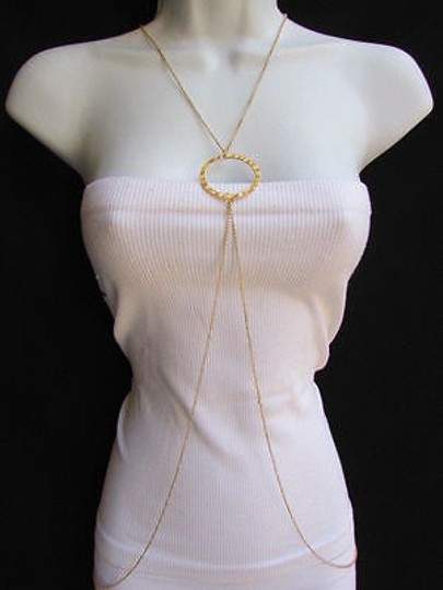 Other Women Necklace Metallic Gold Metal Chain Waves Body Jewelry Trendy Style Long