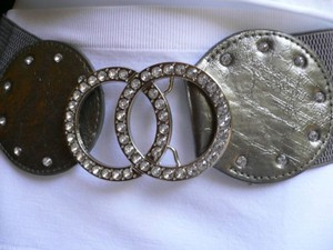 Other Women Belt Fashion Hip Waist Silver Rhinestones Elastic Gray 25-35 -