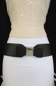 Women Belt Fashion Hip Waist Elastic Black Wide Big Bow Silver Buckle