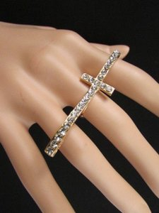 Other Women Cross Fashion Gold Metal Big Long Silver Rhinestones Trendy Ring One