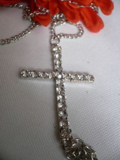 Other Women Necklace Silver Big Cross Metal Body Chain Jewelry Long Texas Trendy