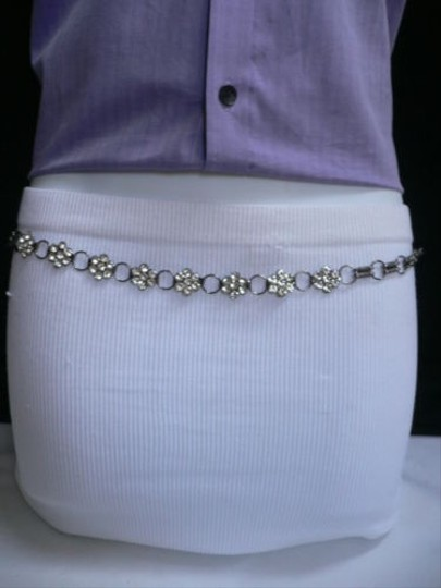 Other Women Belt Fashion Hip Pewter Metal Chains Thin Flowers Beads 28-42 S-xl