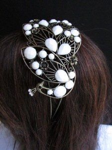 Other Women Headband Hair Fashion White Beads Rhinestones Big Peacock Gold Accessories