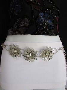 Other Women Belt Hip Waist Silver Mesh Metal Big Flowers Chains Thin
