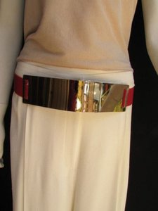 Other Women Belt Fashion High Waist Hip Gold Metal Plate Elastic Red 28-40