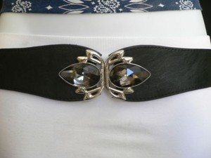 Women Belt Fashion Hip Waist Elastic Black Thin Crystals Buckle Skinny