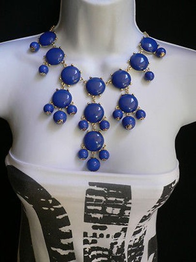 Other Women Necklace Fashion Gold Metal J.c Style Bubble 12 Drop Royal Blue Beads