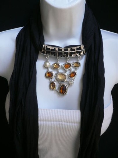 Other Women Scarf Necklace Black Soft Fabric Big Silver Triangle Pendant Beads