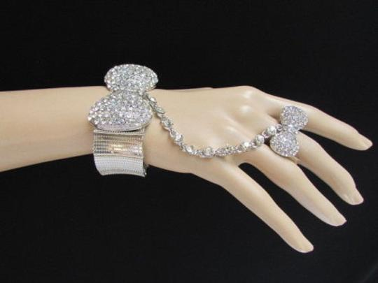 Other Women Bow Bracelet Silver Metal Hand Chain Clear Rhinestones Slave Long Ring