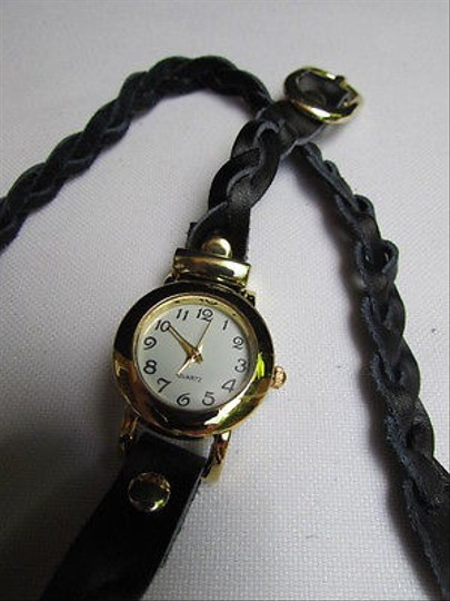 Other Women Bracelet Fashion Gold Watch Faux Leather Black Wrap Around White Dial