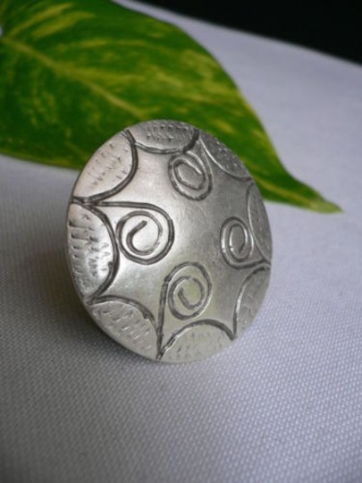 Other Women Ring Fashion Silver Metal African Trible Round Sun Shiled Adjustable