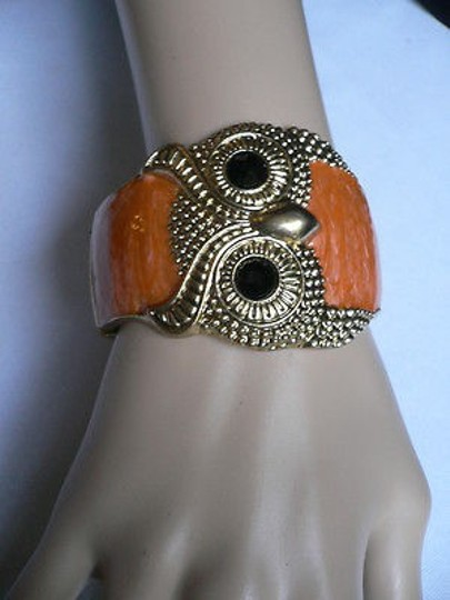Other Women Bracelet Gold Cuff Orange Owl Black Eyes Wide Metal Dressy Unique