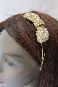 Other Women Headband Hair Thin Gold Metal Fashion Big Bow Rhinestones Accesories