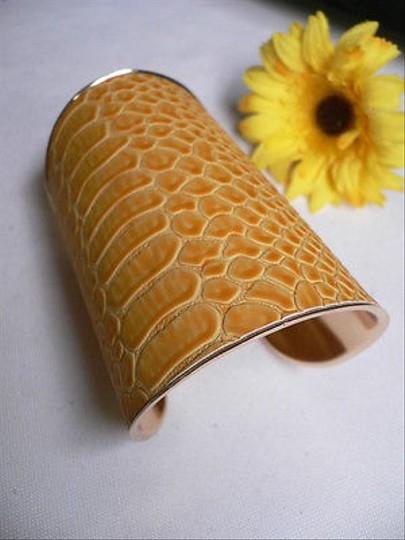 Other Women Bracelet Gold Metal Faux Snake Skin Yellow Color Adjustable Long Cuff