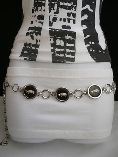 Other Women Belt Fashion Silver Black Turtle Round Metal 23-40 Xxs-xs-s-m-l