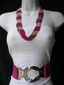 Women Necklace Fashion African Beads Red Silver Chic Silver Metal 12 Drop