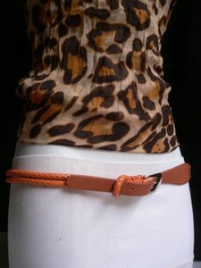 Other Dressy Women Belt Fashion Thin Orange Braided Gold Buckle 33-37