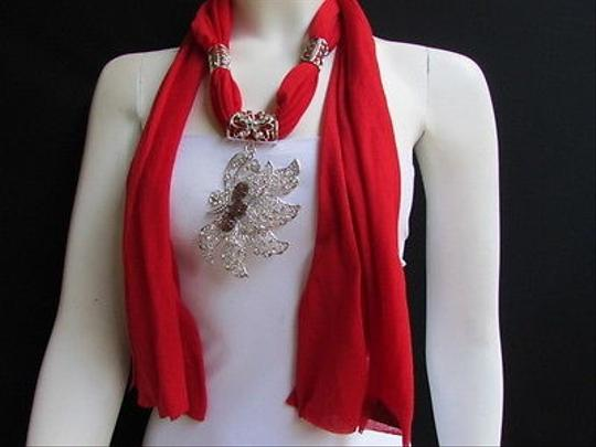 Preload https://item5.tradesy.com/images/women-necklace-scarf-fashion-red-soft-fabric-long-big-silver-butterfly-pendant-3593719-0-0.jpg?width=440&height=440