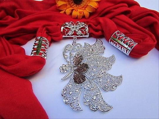 Other Women Necklace Scarf Fashion Red Soft Fabric Long Big Silver Butterfly Pendant