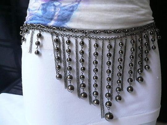 Other Women Belt Fashion Pewter Metal Multi Chains Balls Chic Dancing S-m-l-xl
